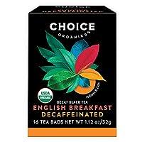 Choice Organic Teas 紅茶、カフェイン抜きのイングリッシュブレックファースト、16カウント、6パック