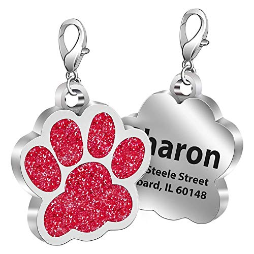 Fibernail Personalized Paw Dog Name Tag, Custom Engraved Pet ID Tags, Cat Tags, Sparkling Glitter Paw Shape Dog ID tag for Cats Little Dogs(Red-L)