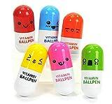 JUNGEN 6PCS Stylos à Bille Rétractable de Multicolor Vitamine Pilules