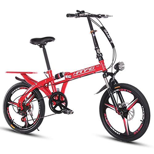 KUKU 20-Inch 7-Speed Mini Folding Bike, 20-Inch Full Suspension Mountain Bike, Double Disc Brakes, Suitable for Commuting, Shopping And Travel,Red