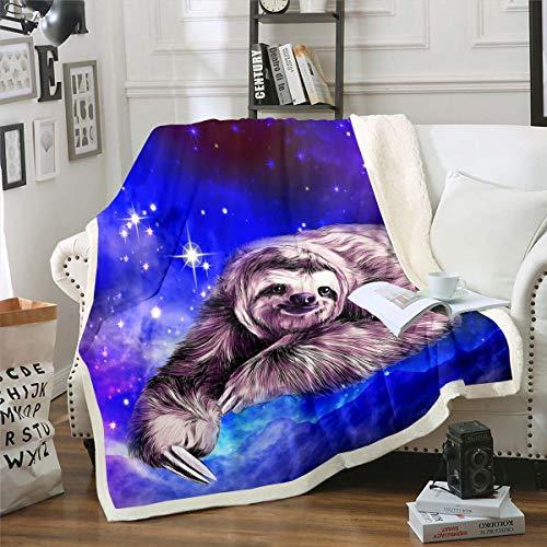 Manta de forro polar con diseño de perezoso para cama, sofá, sofá, niños, diseño de galaxia, cielo estrellado, manta de felpa, diseño de perezosos, decoración de color azul y marrón, 76 x 101 cm