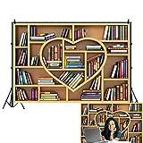 OFILA Bookshelf Backdrop 7x5ft Bookcase Photography Background Teacher Online Class Backdrop Graduation Photos Classroom Wall Backdrop Library Decor Back to School Party Background School Photo Props