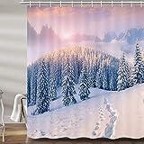 JAWO Winterlandschaft Duschvorhang Schnee Berg Kiefer Wald Sonnenaufgang Weihnachten Badvorhänge Set Polyester Stoff Upgrade Badezimmer Zubehör Dekor 12 Haken enthalten 179,9 x 177,8 cm