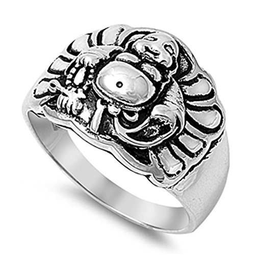 Happy Buddha Religious Ring New .925 Sterling Silver Band Size 7