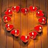 Romántico de Velas, Velas en Forma de Corazón Rojo Romántica Día de San Valentín, Boda, Aniversarios y Compromiso para Decoración (50 Piezas Sin Humo)