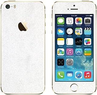 غلاف واقٍ من مجموعة Slickwraps Glitter لهاتف iPhone 5s - أبيض ساتورن - غلاف - تغليف للبيع بالتجزئة - أبيض ساتورن