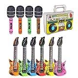 VGOODALL 11 Stück Aufblasbare Instrumente, Inflatables Gitarre Saxophon Mikrofon Boom Box Musikinstrumente Zubehör Für Party Supplies Weinachtensgeschenk -