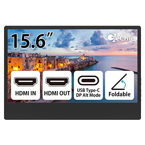 Gechic M505E 15.6 inch FHD 1080p Portable Monitor with USB Type-C Input, HDMI Input/Output, DC-in Port, Daisy Chain Display for Conference, Factory, Industry, Gaming, Plug&Play, Foldable Screen, black