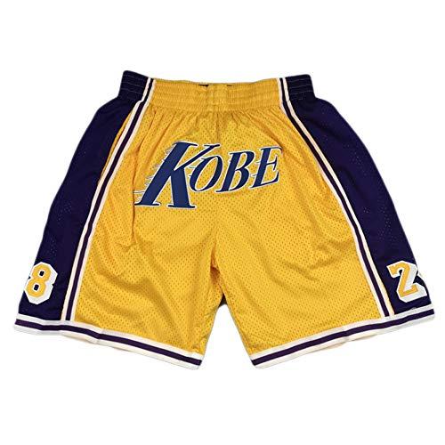 MRYUK Pantalones Cortos de Baloncesto de los Hombres, Los Ángeles Lakers 8/24 Kobe Pantalones Cortos de Entrenamiento Deportivo, Pantalones Cortos de Malla Bordados, Fibra XL