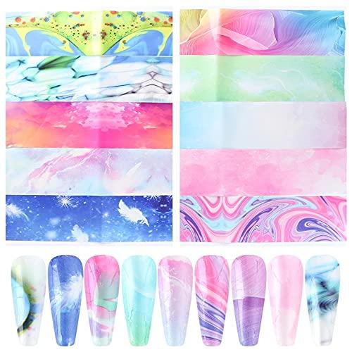 Rainbow Halo Dyed Nail Star Glue Transfer Paper Macaron Color Ámbar Pegatinas Creativas para uñas 20 Piezas