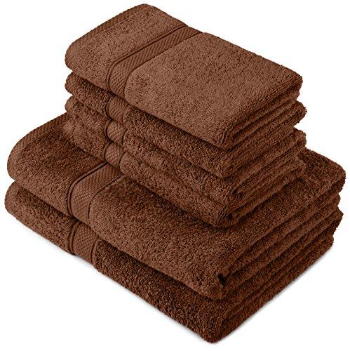 Pinzon by Amazon Handtuchset aus Baumwolle, Schokobraun, 2 Bade- und 4 Handtücher, 600g/m²