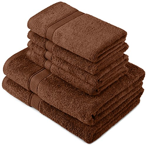 Pinzon by Amazon - Juego de toallas de algodón egipcio (2 toallas de baño y 4 toallas de manos), color marrón