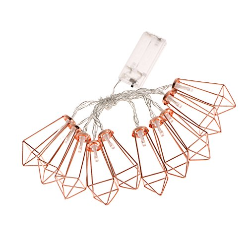 MagiDeal 10LED Rose Golden Metal Diamond Shape Fairy String Lights Wedding Party Christmas Indoor Outdoor Decor Battery Powered (Warm White)