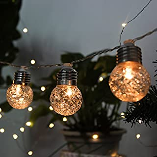Solar Globe String Lights, 20ft 20 LED Crystal Balls Waterproof Pineapple String Lights Solar Powered for Bedroom,Garden,Yard, Home,Patio,Wedding Party,Holiday Decoration