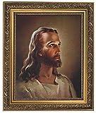 Gerffert Collection Sallman Head of Christ Catholic Framed Portrait Print, 13 Inch (Ornate Gold Tone Finish Frame)