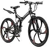 Outroad Folding Mountain Bike 6-Spoke 21-Speed 26-inch Wheel Double Disc Brake Full Suspension Anti-Slip, Black,Orange,Fluorescent Green