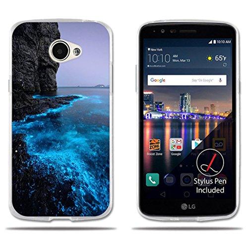 LG K5 / Q6 / X220ds Hülle, FUBAODA [Fluoreszierende Küste] Transparente Silizium Clear TPU Glamour Serie Slim Fit Shockproof Flexible Vollschutz Anti-Shock-Design-Schutz für LG K5 / Q6 / X220ds