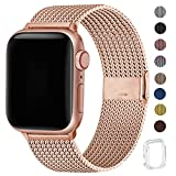 WFEAGL コンパチブル apple watch バンド, コンパチブルiWatch通用ベルト apple watch series 5/4/3/2/1に対応 交換ベルトステンレス製 (38mm 40mm, ローズゴールド)