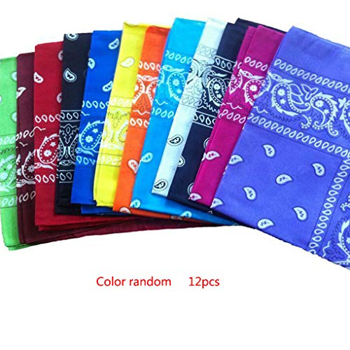 Floridivy 12PCS / Set Korea mode haaraccessoires Bandana sjaal Plein Bandanas bandana's, vrouwen gedrukt hoofddeksels, hoofddeksels Unisex Rock Cool Printed hoofdbanden