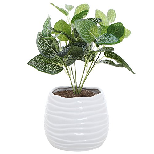 MyGift 5.5 Inch White Ceramic Wavy Design Plant Flower Planter Container Pot/Decorative Centerpiece Bowl Vase