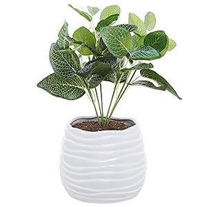 Silk Flower Arrangements MyGift 5.5 Inch White Ceramic Wavy Design Plant Flower Planter Container Pot/Decorative Centerpiece Bowl Vase