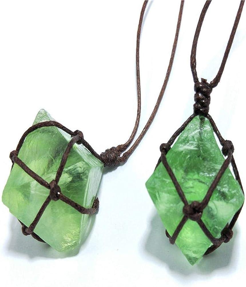 Natural Emerald Crystal Healing Pendant Gemstone Wand Green Wrap Necklace Yoga For Men Women