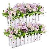 Fiori di rosa artificiali Piante di fiori di ortensie finte in vaso per staccionata per home office Decorazione per davanzale da cucina per feste di matrimonio, set di 2 (Viola)