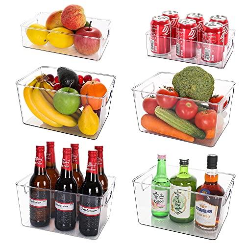 DEEPOW Kühlschrank Organizer - Aufbewahrungsbox für Küche 6er Set (4 Große/2 Mittel), Offene Speisekammer Vorratsbehälter mit Griffen, großer Küchen Organizer, Durchsichtig Kühlschrankbox -BPA Frei