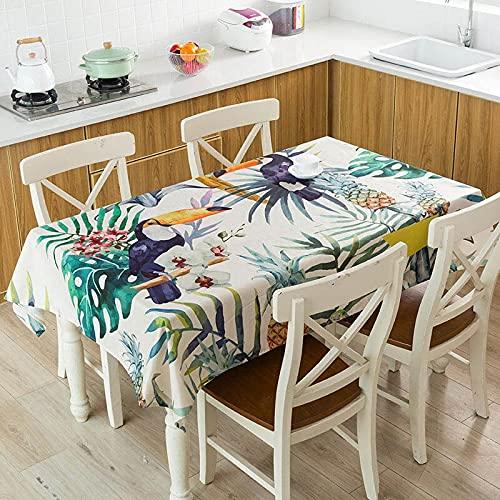 XXDD Hojas Verdes Tropicales Monstera Flamingo patrón Impermeable Mantel hogar Cocina decoración de Mesa Mantel A6 150x210cm