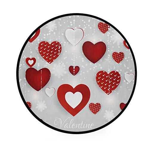 Tapis rond pour la Saint Valentin, motif cœurs Be Mine Kiss Me Love Heart - Tapis de yoga doux pour salon, chambre à coucher, salle à manger, décoration d