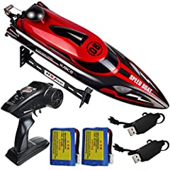 High Speed: The HONGXUNJIE RC boat for adults and kids races across water at 18+ mph; this high speed boat includes a 4-channel remote with a 150-meter signal range. Double Batteires For More Time to Play: The RC boat coming with two batteries which ...