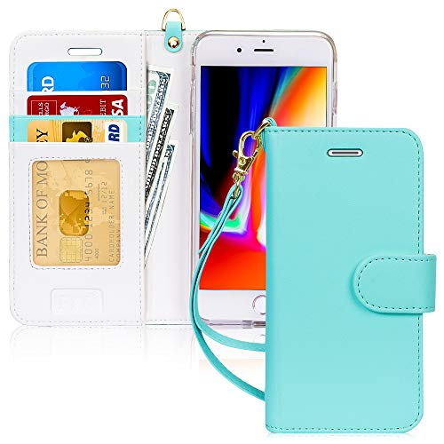 """FYY Case for iPhone 8 Plus/iPhone 7 Plus,[Kickstand Feature] Luxury PU Leather Wallet Case Flip Folio Cover with [Card Slots] [Wrist Strap] for Apple iPhone 8 Plus 2017/7 Plus 2016 (5.5"""") Mint Green"""
