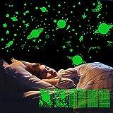 LATTCURE - Adhesivos luminosos para pared, diseño de cielo estrellado, autoadhesivos, para habitación de los niños y niñas, 6 unidades de luna y estrellas fluorescentes