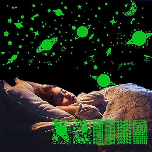 LATTCURE Leuchtsticker Wandtattoo Sternenhimmel Leuchtsterne Selbstklebend Kinderzimmer Jungen Mädchen, 6 Stück Mond und Sterne Fluoreszierend Wandaufkleber DIY für Schlafzimmer Kinderzimmer