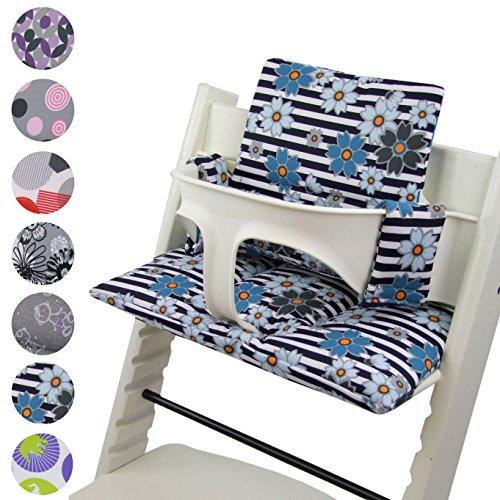 BambiniWelt - Cojín de asiento para trona Stokke Tripp Trapp, en 20colores, asiento de 2piezas, funda de repuesto azul Streifen Blaue kl. Blumen