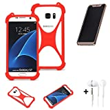 K-S-Trade® Handyhülle + Kopfhörer Für Doogee V Schutzhülle Bumper Silikon Schutz Hülle Cover Case Silikoncase Silikonbumper TPU Softcase Smartphone, Rot (1x),