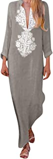 Women Long Dress Vintage Print - Long Sleeve V-neck Maxi Dress Split Hem Baggy Kaftan Robe