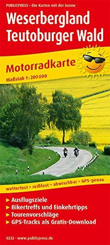 Weserbergland - Teutoburger Wald: Motorradkarte mit Ausflugszielen, Einkehr- & Freizeittipps und Tourenvorschlägen, wetterfest, reißfest, abwischbar, GPS-genau. 1:200000 (Motorradkarte / MK)
