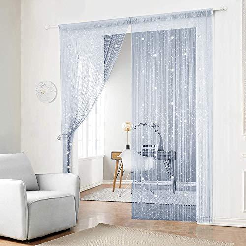 AIFENTE String Curtain Door Curtain Tassel Screen Panel Fringe String Curtain Beaded Curtains for Door Wall Window Wedding Coffee House Decorative (Silver Grey 90x200cm