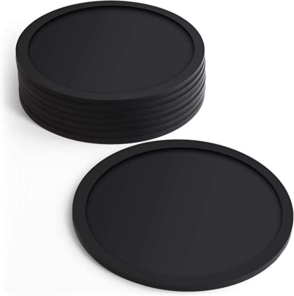 IGadgitz Home U6901 BPA Free Silicone Coasters Non Slip Cup Mats Pack Of 8 Round Shaped 16oz Glass Size Coffee Cups Tea Cups Bottles Hot Cold Drinks Parties Home Office More Black