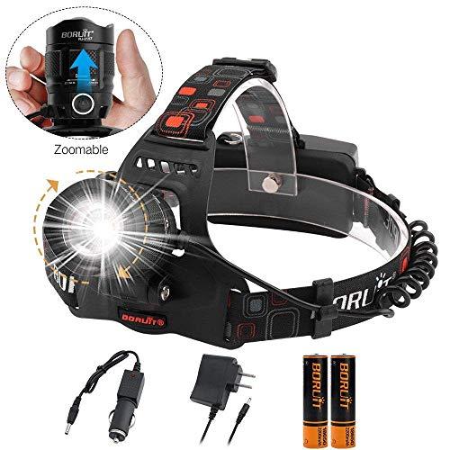 BORUiT RJ-2157 LED Mini wasserdichte Scheinwerfer Zoomable 5 Modi USB-Scheinwerfer, Wandern, Lesen, Radfahren, Jagen, Laufen