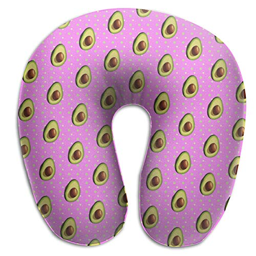 Avocado Muster Rosa Nackenkissen Bequeme weiche U-Form Cervical Kissen Kopfstütze für Reisebüro Auto schlafen und leicht zu reinigen