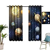 Aishare Store Blackout Curtains, Educational,Solar System Planets 48 Inches Long Blackout Curtains for Kids Bedroom, Set of 2 Panels