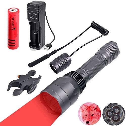 WindFire S10 Lampe-torche avec 3 LED rouge 650 lumen avec support de lunette pour la chasse, interrupteur à pression, batterie rechargeable et chargeur