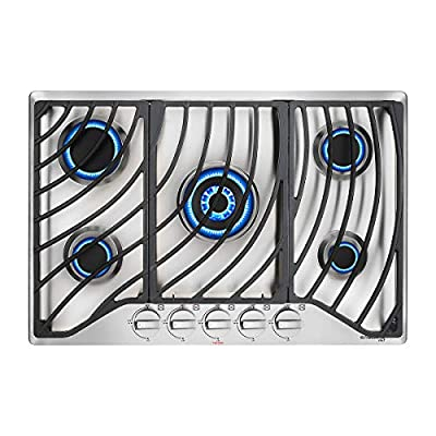 """30"""" Built-in Gas Cooktop, GASLAND Chef GH1305SF 5 Italy Sabaf Sealed Burner Gas Stovetop, 30 inch Drop in Gas Range Cooktop, 41,300 BTU NG/LPG Convertible, Thermocouple Protection, Stainless Steel"""