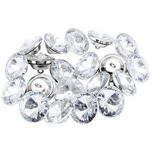 TsunNee 60 botones de cristal de diamantes de imitación con hebilla de metal, botones de tapicería transparentes para coser sofá cama cabecera DIY manualidades decoración, plata, 25 mm