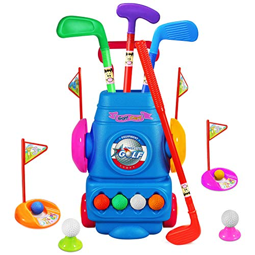 WTOR Kids Golf Club Set, 8 Golf Balls Toy Plastic Golf Cart with Wheels, Sports Toys Gift for Boys Girls 3 4 5 6 Year Old Outdoor Toys