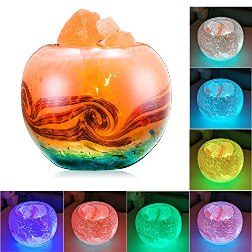 FANHAO Himalayan Salt Lamp, 7 Colors Changing Crystal Salt Lamps with Hand-Painted Glass Container...