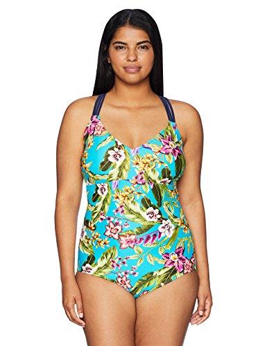 Amazon Brand - Coastal Blue Women's Plus Size One Piece Swimsuit, Garden of Eden/Teal, 1X (16W-18W)