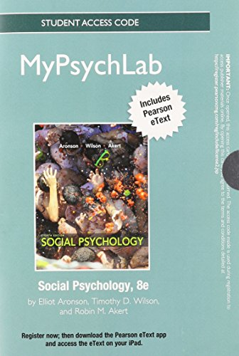 Social Psychology MyPsychLab Access Card: Includes Pearson Etext (Mypsychlab (Access Codes))